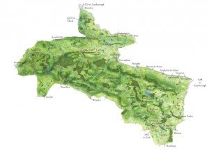 Topographical map of AONB